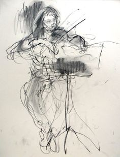 On the Violin . charcoal drawing . Felicity House