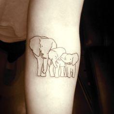 Elephant family tattoo Artist: Nina Dreamworx Ink 3883 Rutherford Rd, Unit 11 Vaughan, ON L4L 9R8 905-605-2663 @Dreamworx Ink