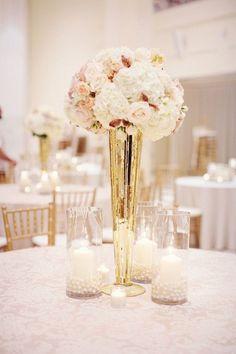 "Mercury Gold Tall Vase Wedding Centerpiece 24"" Clear Pilsner Trumpet Cone Vase"