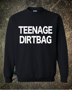 Teenage Dirtbag One Direction 1D Hipster Crew Cool Black Red White sweatshirt on Etsy, $19.99