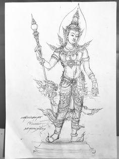 ร่างต้นแบบสำหรับเขียนลงหนังสือ Tatoo Designs For Women, Styrofoam Art, Cambodian Art, Thailand Art, Buddha Meditation, Anime Expressions, Thai Art, Pen Sketch, Religious Art