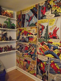 Marvel Comics wall mural... It looks amazing in the figure room. Everyone's dream room almost complete...
