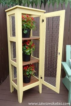 diy patio garden cabinet to display and protect plants container gardening how to outdoor living painting wood furniture woodworking projects Diy Patio, Backyard Patio, Backyard Ideas, Porch Ideas, Flagstone Patio, Pergola Patio, Garden Furniture, Diy Furniture, Furniture Plans