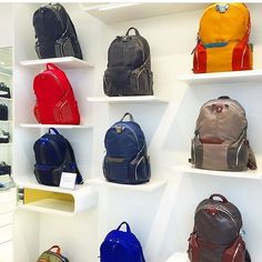 #designer #shelfie #backpacks for #hightech #travellers from Italian brand @piquadrofficial in Londons #regentstreet.  The brand uses young #designers to keep up to date with current trends that they find through ongoing #competitions.