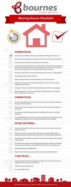 moving house checklist - countdown to moving day
