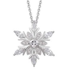 ELANZA AAA Simulated White Diamond Snowflake Pendant With Chain in Rhodium Plated Sterling Silver