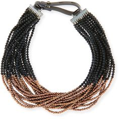 Brunello Cucinelli Black Agate & Copper Beaded Choker Necklace ($1,233) ❤ liked on Polyvore featuring jewelry, necklaces, adjustable necklace, multi-chain necklace, multi strand necklace, black agate necklace and beaded jewelry