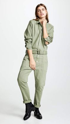 One Teaspoon Super Khaki Utility Jumpsuit Street Style Blog, Playsuit Romper, Jumpsuits For Women, New Outfits, Spring Fashion, Military Jacket, Rompers, Pants, Fashion Design