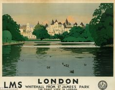 London before the Blitz - this pre-war poster shows Whitehall as it appeared before the start of World War Two