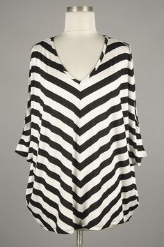 *** New Style *** Casual Loose Fit Knit Top with Cold Shoulder Dolman Sleeves in Classic Stripes with Scooped V Neckline.