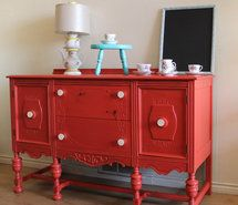 i love retro, vintage painted furniture...my style! buffet, decor, red, retro, vintage (Full Size)