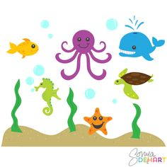 Clip Art Under The Sea Clip Art sea animal clipart under the baby creatures clip art this is a vector set of 15 super cute animals we have fish whale seashorse turtle starfish and octopus swimming