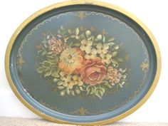 Shabby muted flowers country French blue large tray