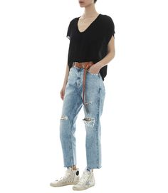 GOLDEN GOOSE DELUXE BRAND LIGHT WASHED KOMO JEANS WITH FRINGED HEM