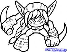 skylander stealth elf coloring page