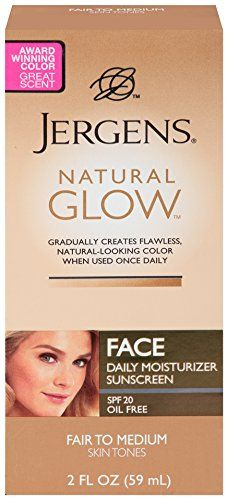 Jergens Glow Face Daily Moisturizer Sunscreen SPF 20, Fair to Med, 2 Ounce Jergens http://www.amazon.com/dp/B001YTD3BE/ref=cm_sw_r_pi_dp_UK8kub17Z4EFK
