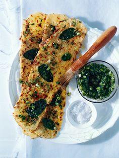 // mint flatbread + green onion pesto