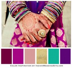 love this plum purple gold indian wedding palette. maybe in our bedroom? Colour Schemes, Color Combos, Color Palettes, Gold Color Scheme, Gold Palette, Filigranes Design, Indian Colours, Estilo Hippie, Plum Purple