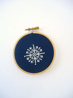 Snowflake Christmas Ornament Navy Blue Hoop Art Ornament with