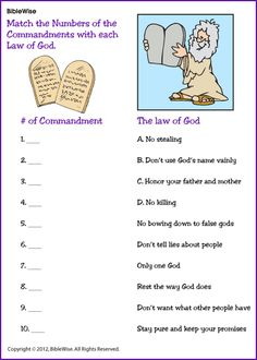 Match Commandment with the Right Number - Kids Korner - BibleWise