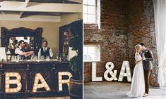 Het is al een poosje extreem hip voor in huis; letterverlichting. Maar weet je dat ze ook superleuk zijn voor je bruiloft?! En wij ontdekten een hele goedkope letterverlichting voor je... // Foto: Gina and Ryan Photography // Girls of honour