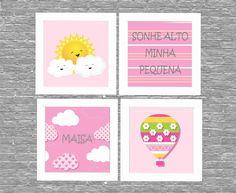 Kit quadro nuvem sol rosa