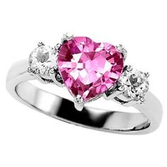 2.60 cttw 925 Lab Created Heart Shape Pink Sapphire Engagement Ring in .925 Sterling Silver Size 8 $159.99