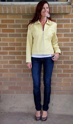 Doncaster~Butter Lemon Yellow Lambskin Leather Jacket~10 **GORGEOUS COLOR** #Doncaster #BasicJacket