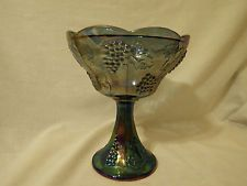 BLUE IRIDESCENT CARNIVAL GLASS COMPOTE/CANDY DISH