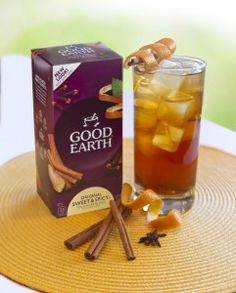 Good Earth's Sweet & Spicy Iced Tea or hot its my favorite ever!!!