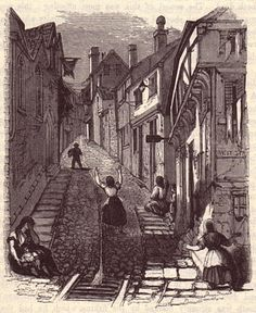 Just to get an idea. Despair on Stepcote hill, Exeter. Thomas Chapter : The History of the Cholera in Exeter Selected Extract from Chapter XIV Exeter, Family History, England, City, Vintage Illustrations, Painting, Revolution, Art Pieces, Graphics