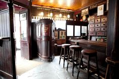 Irish Pub Toners, Baggot Street, Dublin, check out the award winning snug inside the front door! Irish Pub Interior, Irish Pub Decor, Dublin Pubs, Visit Dublin, Pub Sheds, Irish Bar, Home Pub, Art Nouveau, Old Bar