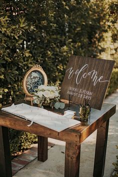 Perfect 23 Ideas to Make a Rustic & Vintage Wedding Theme---outdoor vintage wedding with wooden sign. Wedding Entrance Table, Wedding Welcome Table, Wedding Guest Table, Guest Book Table, Wedding Table Centerpieces, Reception Table, Wedding Decorations, Wedding Ideas, Guest Books