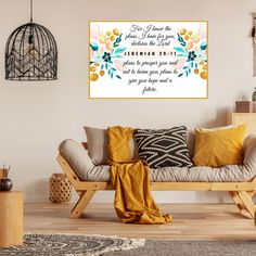 Jeremiah 29:11 For I Know the Thoughts I Have For You Bible Verse Print, This beautiful floral wall hanging can be hung anywhere from the entry to the living room or even a bedroom.  { WHAT'S INCLUDED } Digital files for you to print at home, at a local print shop or online service such as the
