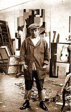 "Uncredited Photographer Pablo Picasso in His Atelier, rue Schoelcher, Paris c.1915 ""Bad artists copy. Good artists steal."" Pablo Picasso"