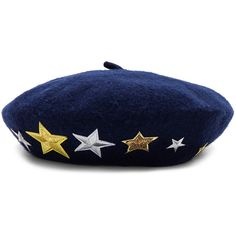 Hat Attack Wool Beret with Star Patches (684.645 IDR) ❤ liked on Polyvore featuring accessories, hats, patch hat, sequin beret hats, embroidery hats, wool hat and sequin beret