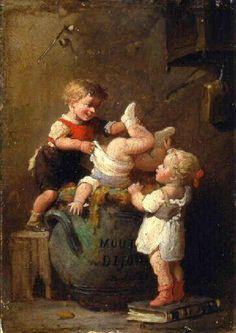 François-Louis Lanfant de Metz ~ A Barrel Of Dijon Mustard And Some Mischievous Kids.                                                                                                                                                                                 Más