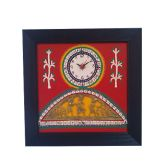 Warli Handpainted & Dhokra Work Wall Clock (Black & Red)