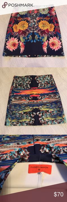 Clover canyon Blue Pencil Skirt Beautiful blue pencil skirt with bold Floral pattern. 90% polyester and 10% spandex Clover Canyon Skirts Pencil