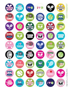 I LOVE Tennis Digital Collage Printable for Tiles by jellybeanlab, $3.50