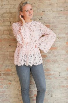 Anastasia Lace Bell Sleeve Top - Blush #70's-inspired-clothing #bell-sleeve…