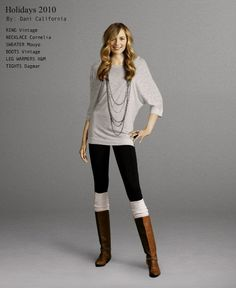 Caramel boots, black crocheted leg warmers, distressed jeans, black tunic tank, rose oversized sweater, grey beanie... Perfect casual fall day.