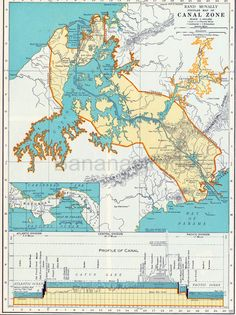 A Rand McNally map of the Panama Canal from 1937.