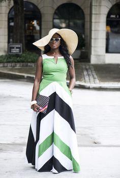 Chevron Stripe Maxi Dresses, Bold Colorblock Dresses Womens short dresses | Sundresses | Sundress | Cotton Sundress | Resort Sundresses | Beach Sundresses - CL0031588 | eShakti