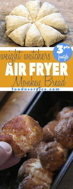 Air Fryer Monkey Bread is going to be your new favorite Weight Watcher& treat for yourself because it only has 3 FreeStyle points per serving! Now you can eat your monkey bread and still stick your FreeStyle points by making this in your Air Fryer! Weight Watcher Desserts, Plats Weight Watchers, Weight Watchers Meals, Air Fryer Recipes Weight Watchers, Weight Watcher Bread Recipe, Air Fryer Oven Recipes, Air Frier Recipes, Air Fryer Recipes Breakfast, Air Fryer Recipes Ground Beef
