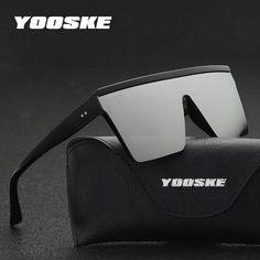 cb022244bac YOOSKE Vintage Oversized Sunglasses Women Black One Piece Cool Driving Men  1118  Discounts  BestPrice
