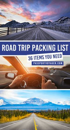 36 Essentials For Your Road Trip Packing List - Passport Voyager - Hit the road safely with these road trip packing list essentials! Here's what to bring on the road to make the most of your next journey by car. Road Trip Packing List, Road Trip Essentials, Road Trip Hacks, Travel Packing, Packing Lists, Europe Packing, Traveling Europe, Backpacking Europe, Travelling