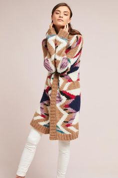 Slide View: 1: Hand-Knit Mosaic Cardigan