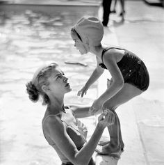 Lauren Bacall at the pool with her daughter Leslie Bogart, 1950s, Photo by Phil Stern.
