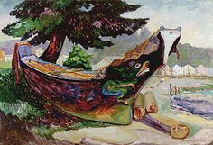 Indian War Canoe, Alert Bay Artwork By Emily Carr Oil Painting & Art Prints On Canvas For Sale Vancouver Art Gallery, Art Gallery Of Ontario, Canadian Painters, Canadian Artists, Emily Carr Paintings, Dulwich Picture Gallery, Art Chinois, Impressionist Paintings, Colors